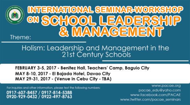 INTERNATIONAL SEMINAR-WORKSHOP ON SCHOOL LEADERSHIP AND MANAGEMENT
