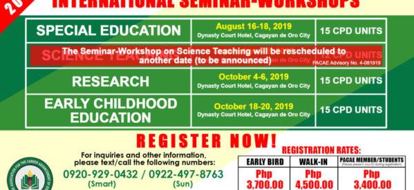 PACAE INTERNATIONAL SEMINAR-WORKSHOPS 2019 IN CDO